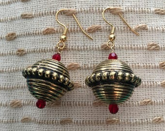 Red Earrings, Valentines Day, Swarovski Earrings, Dangle & Drop Earrings, Gold Earrings, Girlfriend, Gift For Her, Valentine, Gift