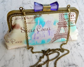 Metal-frame clutch cotton purse Paris pink lavender evening bag wedding frame bridalclutch clutch clip bag