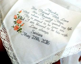 Mother of the Groom Wedding Gift Special Wedding Present for Mother of the Groom Embroidered Wedding Handkerchief By Canyon Embroidery