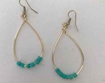 Wire Earrings with blue beads