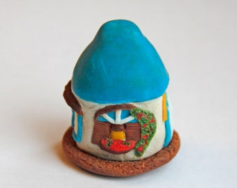 Tiny Summer House Miniature House Sunny Sea Cottage Polymer Clay House Blue and White Decor Shelf Decor Collectibles