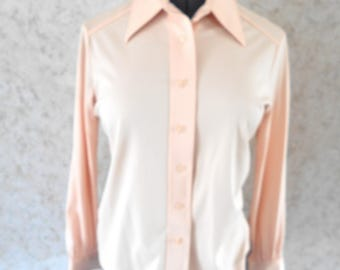 70s Mod Polyester Pastel Peach Blouse Sears The Shirt Pointed Collar 1970s Button Down Shirt Retro Long Sleeve Hipster Womens