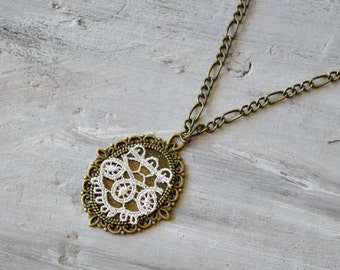 Cotton Anniversary Gift for Her, Second Wedding Anniversary, 2nd Anniversary Gift, Ivory lace Necklace, Girlfriend Gift