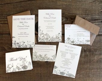 floral wildflower wedding invitation suite - 50 save the dates, invitations, response cards, reception cards, programs, thank you cards