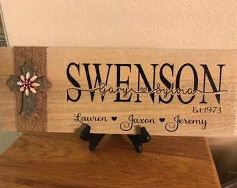 Family names, Personalized plaque, Custom sign, Personalized Ceramic Sign, Wedding gift, Housewarming gift, Bride and Groom Gift,Shower Gift
