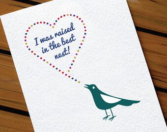 Cute Father's Day Card For Dad - Raised in the Best Nest Bird Card