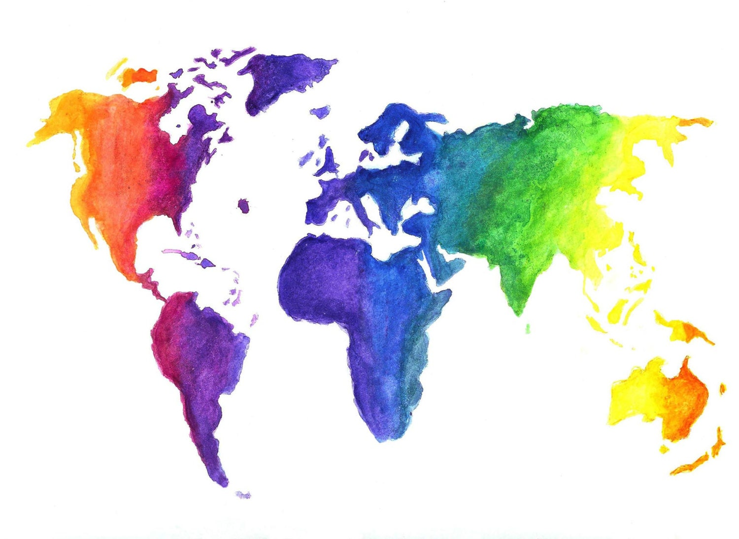 Watercolor World Map Print Earth In Rainbow Colors Hand - Colorful world map