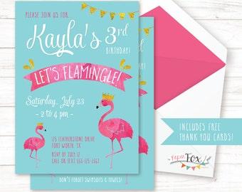 Flamingo birthday invitation Flamingo Invitation Lets