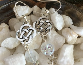 Celtic Knot Moon Earrings