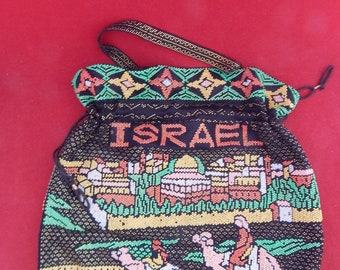 Ladies beaded bag,Made in Israel,(2) handles and a drawstring.