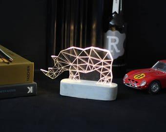 Concrete Rhino lamp, table lamp, animal night light, SAFARI decorative lamp