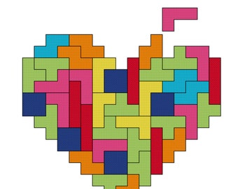 Tetris 'You Complete Me' Cross Stitch Pattern