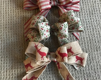 Handmade burlap or ribbon bows, use for wreaths and other crafts, Christmas holiday prints