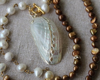 ROCK ON!  Double Pearl Abalone Shell Pendant Necklace