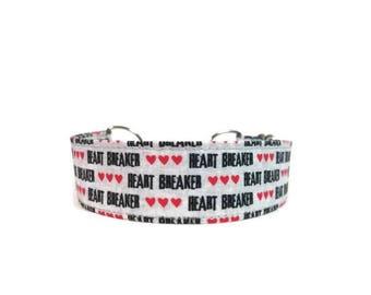 Heart Breaker Dog Collar, Cat Collar, Martingale Collar, Valentine Dog Collar, Buckle Collar, Heart Breaker Cat Collar,  Chain Martingale