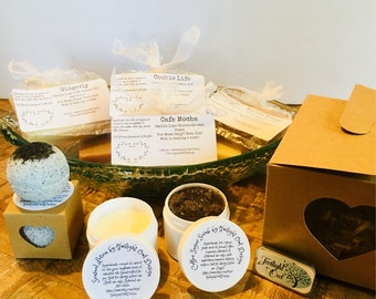 Mother's Day, Gift for Her, Spa Gift Set, Natural, Organic, Non Toxic Spa Gift. Natural soap, scrub, lip balm, lotion, relaxation gift, Box