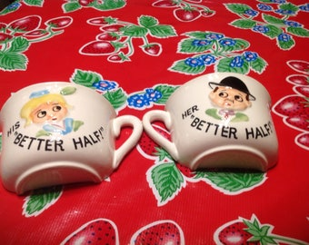 Vintage hand painted comical ceramic pair of half mugs- His Better Half and Her Better Half