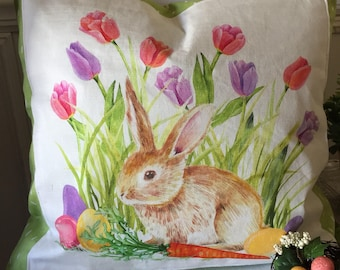 Spring Pillow Cover, Easter Pillow Cover, Bunny Pillow Cover