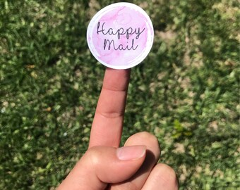 Watercolor Happy Mail sticker labels, happy mail sticker, happy mail package decor, happy mail, happy mail matte circle sticker,