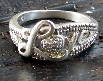 Clearance Sale-Love Ring - Heart Band - Marcasite jewelry - Sterling Silver - Marcasite Ring - Love Band - Girlfriend - Wife - gift for her