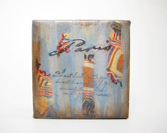 Paris .4 x 4 Inch Original Mixed Media Painting on Canvas,Free shipping USA
