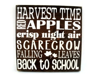 Fall Autumn Rustic Wood Sign Wall Hanging Home Decor Subway Art  (#1231)