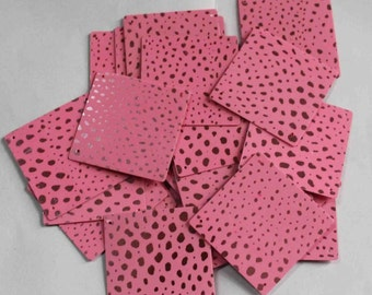 20 Glittering Square Shape Sequins/Pink Color/  Dotted  Texture/ PSS627