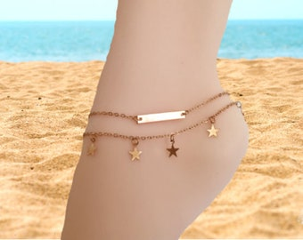 Delicate Star Anklet, Dainty Silver Anklet Bracelet, Gold Ankle Chain, Gold Boho Anklets, Anklets for Women, Summer , Beach, Gift for Her