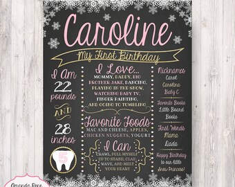 First Birthday Pink and Gold Winter Onderland Wonderland Snowflakes Chalkboard like Poster - Printable/Digital File {Any Age or Colors}