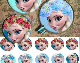 Frozen Elsa 25mm -  Bottle Cap Images 4x6 Digital Collage INSTANT DOWNLOAD