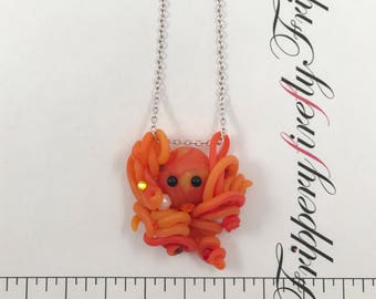 Kawaii Orange Octopus Necklace - Octopus and Pearl Pendant - Ocean Jewelry - Beach Jewelry - Freshwater Pearl Necklace - Deep Sea Necklace