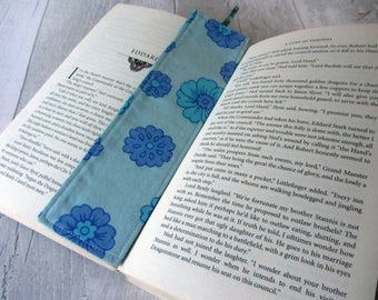 Floral Bookmark - Fabric Bookmark – Teacher Gift – Party Favour – Bookworm Gift – Book Lover Gift – Stocking Filler - Blue Bookmark