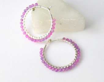 Purple Beaded Hoop Earrings, Sterling Silver and Lavender Stone Petite Hoops, Quartz Beads, Small Hoops in Light Purple and Silver
