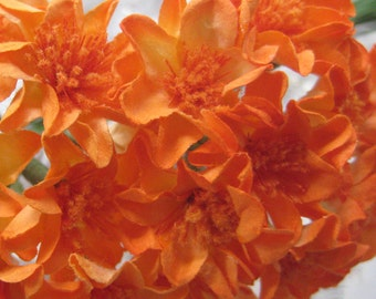 Paper Flowers 30 Millinery Small Zinnia Flowers In Orange ~ 3 Bundles
