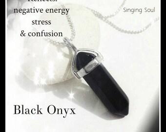 Black onyx, Bohemian necklace, blue quartz, genuine gemstone, healing crystal, reiki necklace, yoga necklace, energy necklace, onyx, zen