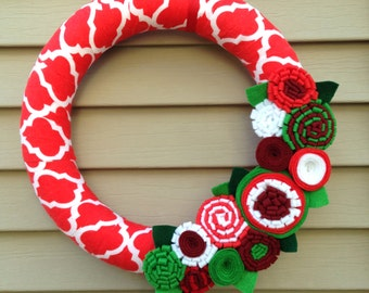 Christmas Wreath, Modern Wreath, Holiday Wreath, Patterned Wreath, Christmas Patterned Fabric Wreath, Felt Flower Wreath, Ribbon Wreath