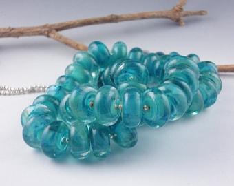 Handmade Lampwork Glass Beads, Lampwork 8 Bead set, Glass beads, Lampwork Spacer Beads, artist lampwork, jewe;ry supplies, Indian Ocean