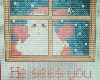 He Sees You When You're Eating Cross Stitch