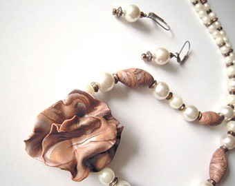 Handcrafted ooak necklace and earrings set, 'Carmela Pearl', free-form polymer clay jewelry, for her under 50, brown and white, made in USA