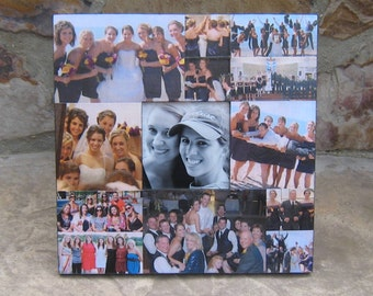 "Maid of Honor Collage Picture Frame, Unique Sister Gift, Custom Collage Bridesmaid Frame, Personalized Parent's Gift, 12"" X 12"""