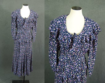 vintage 80s Floral Dress - 1980s Ruffled Floral Gypsy Dress Sz L