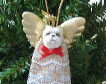 Handmade WEST HIGHLAND TERRIER Westie Small Lace Angel Christmas Tree Ornament or Pet Memorial