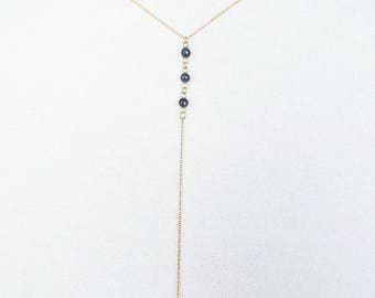 Sapphire 14 carat goldfilled/gold filled necklace/lariat/Y Necklace