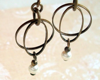 Pearl Hoop Earrings Handmade with Cream Swarovski Pearls and Brass Hoops