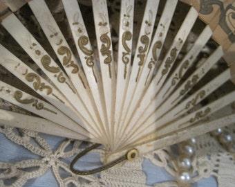 Souvenir Hand Fan c. 1920s from The Pickwick Inn, Greenwich CT, Paper w/ Bone Blades, Chic & Shabby, Gold Scrolling, Victorian, Art Nouveau