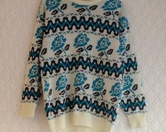 Vintage 1980s cream and turquoise rose sweater - Medium