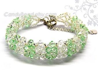 Crystal Bracelet; Swarovski Bracelet; Glass Bracelet;Rosaline Pink, Peridot, Light topaz, Aquamarine Swarovski Crystal Bracelet by CandyBead