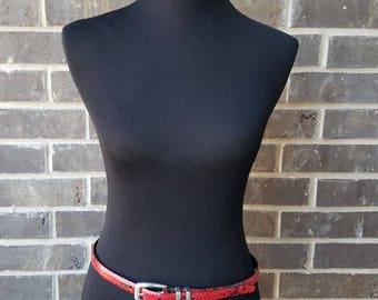 Red Vintage Faux Snakeskin,Slim Rider Pant Belt,Small Buckle,Western Belt,Red Faux Snakeskin Belt,Brighton Skin Belt,Vintage Belt,Collector