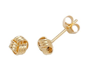 9ct Yellow Gold 3mm Twisted Ribbon Small Knot Stud Earrings