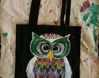 hand painted tote bag / owl no 1